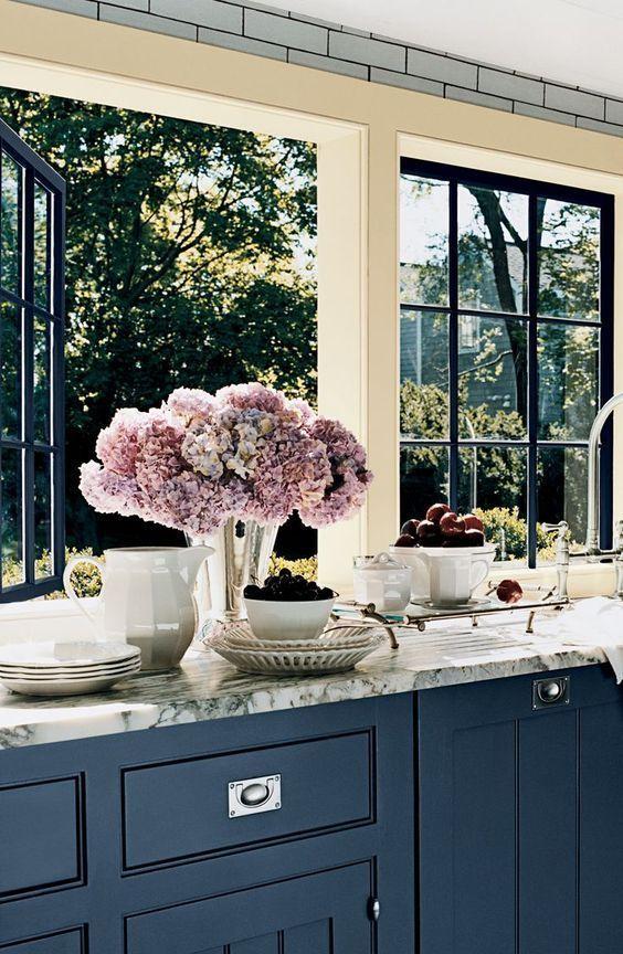 Really loving navy, grey and creamy white kitchens