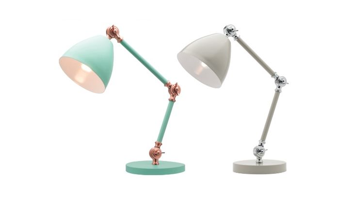 Wallace Table Lamp Mint/Copper or Stone/Chrome Mercator A43911, $79.00