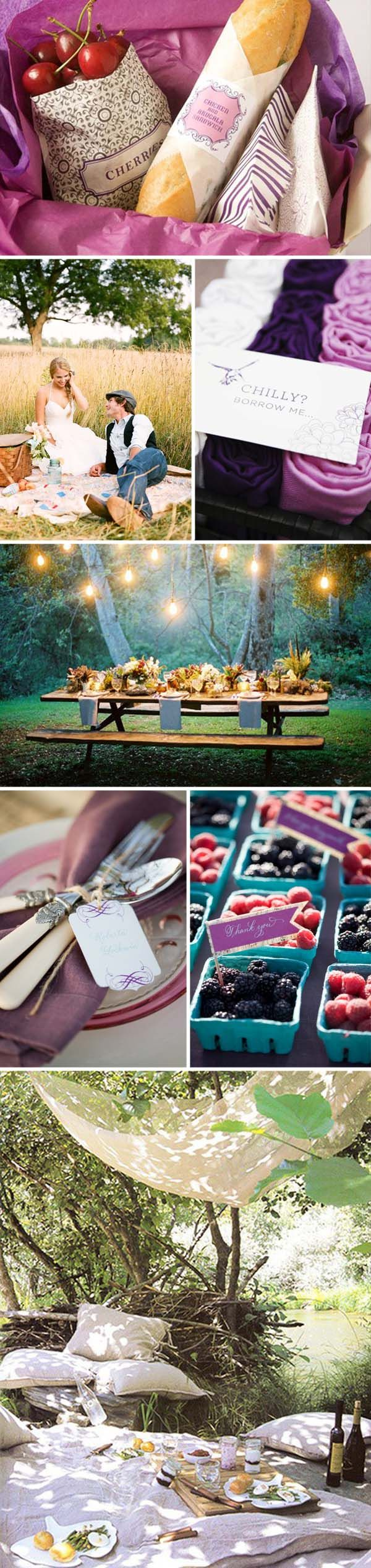"DIY: Picnic Wedding; I like the label for the shawls in the basket that says ""Chili? Borrow me""."