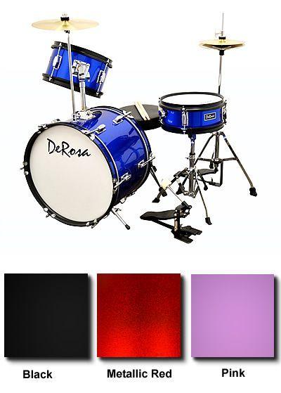 DeRosa Bridgecraft 3 Piece Kids Drum Set with Hi-Hat Stand and Cymbals - DRM316HH