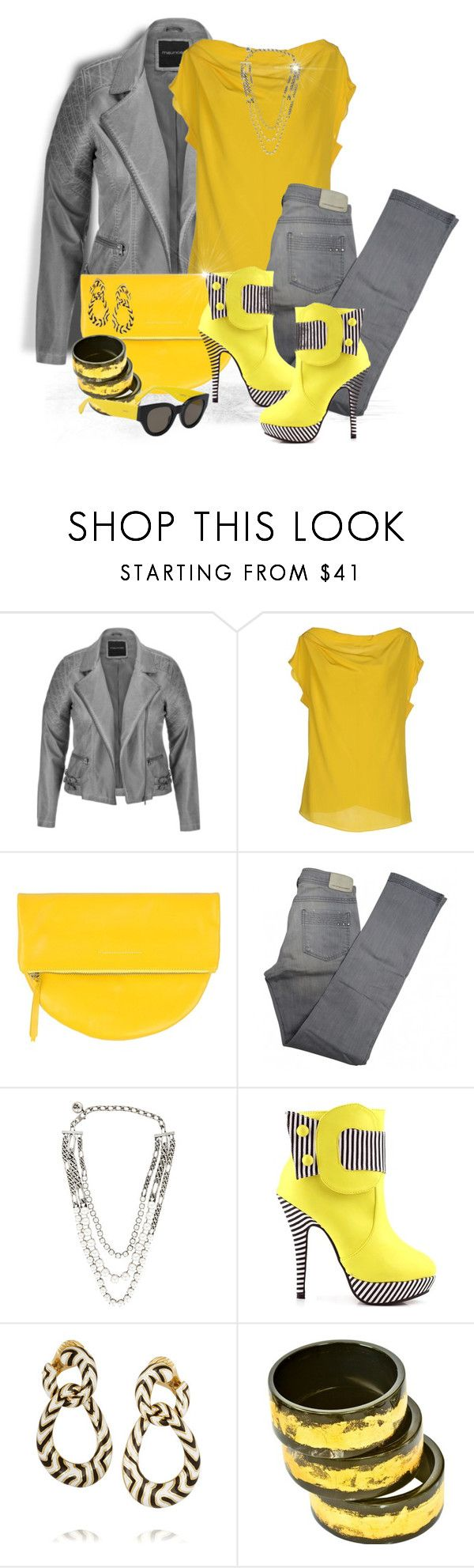 """Causual Yellow and Gray"" by loveroses123 ❤ liked on Polyvore featuring maurices, Vionnet, MM6 Maison Margiela, Comptoir Des Cotonniers, Lanvin, David Webb, Adele Dejak and CÉLINE"