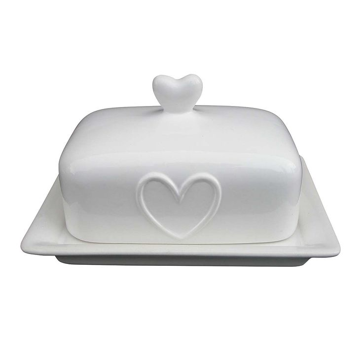 Country White Heart Butter Dish | Dunelm