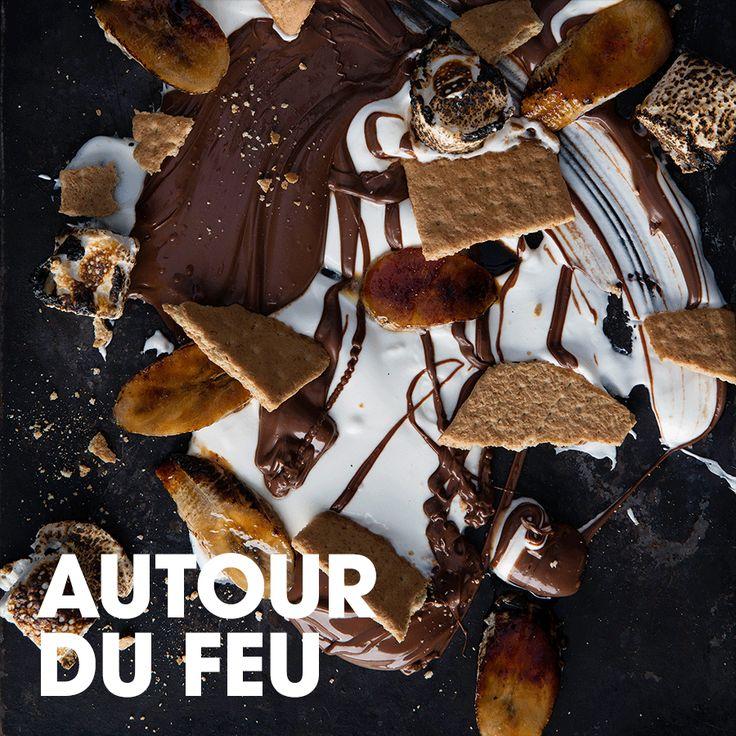 Autour du feu #yogourt #nutella #guimauve #graham #banane #sel #smores #recette #dessert