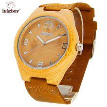 HOT Wood Watches Men Natural Bamboo Women Watch Leather Clock Quartz Movement Ladies Sport WristWatch For Men Wooden Relogio(China (Mainland))