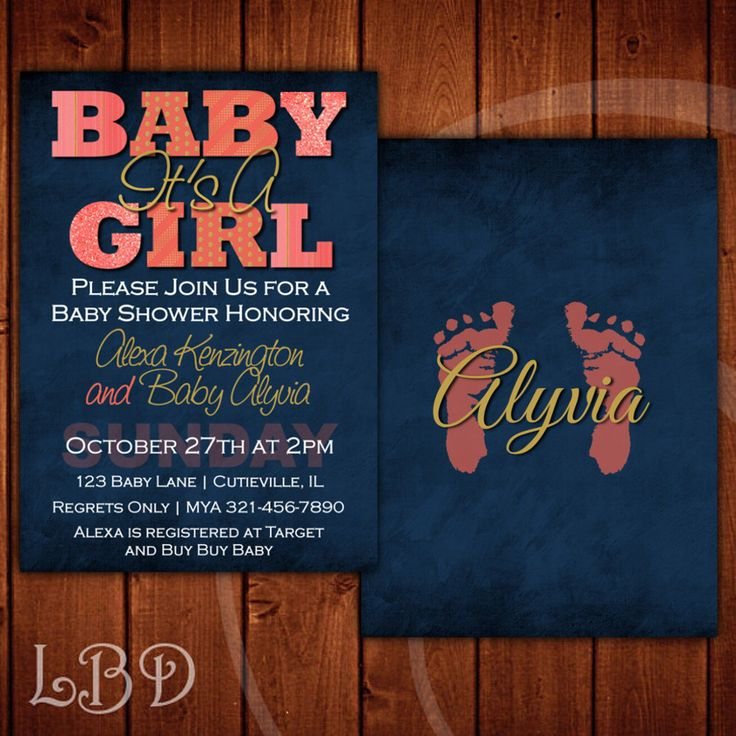 Coral and Navy Baby Shower Invitation by LiveBrightDesigns on Etsy https://www.etsy.com/listing/274423256/coral-and-navy-baby-shower-invitation