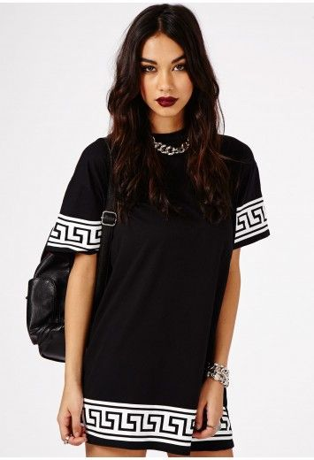 Kikita Greek Key Print Oversized T-Shirt Dress In Black - Dresses - Mini Dresses - Missguided