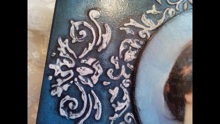 Ξύλινο κουτί με κοντούρ και δαντέλα! Wooden box with contour and lace!