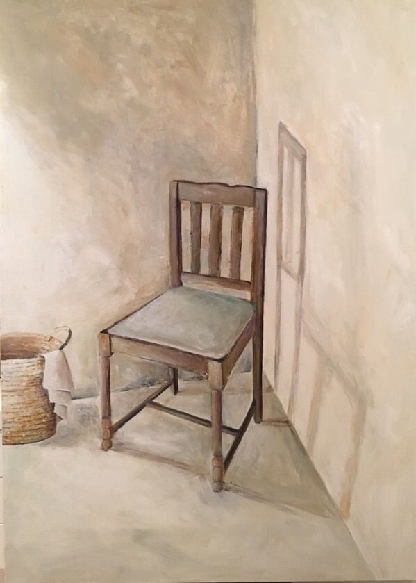 Chair in the corner painted with acrylic paint on canvas