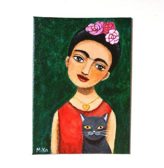 Frida Kahlo Black Cat Original Painting Frida Artist by mikaart https://www.etsy.com/listing/246700498/frida-kahlo-black-cat-original-painting?ref=shop_home_active_1