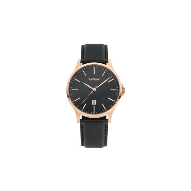 Reloj Tayroc TXM104 de esfera negra y rosado a juego con la correa de cuero