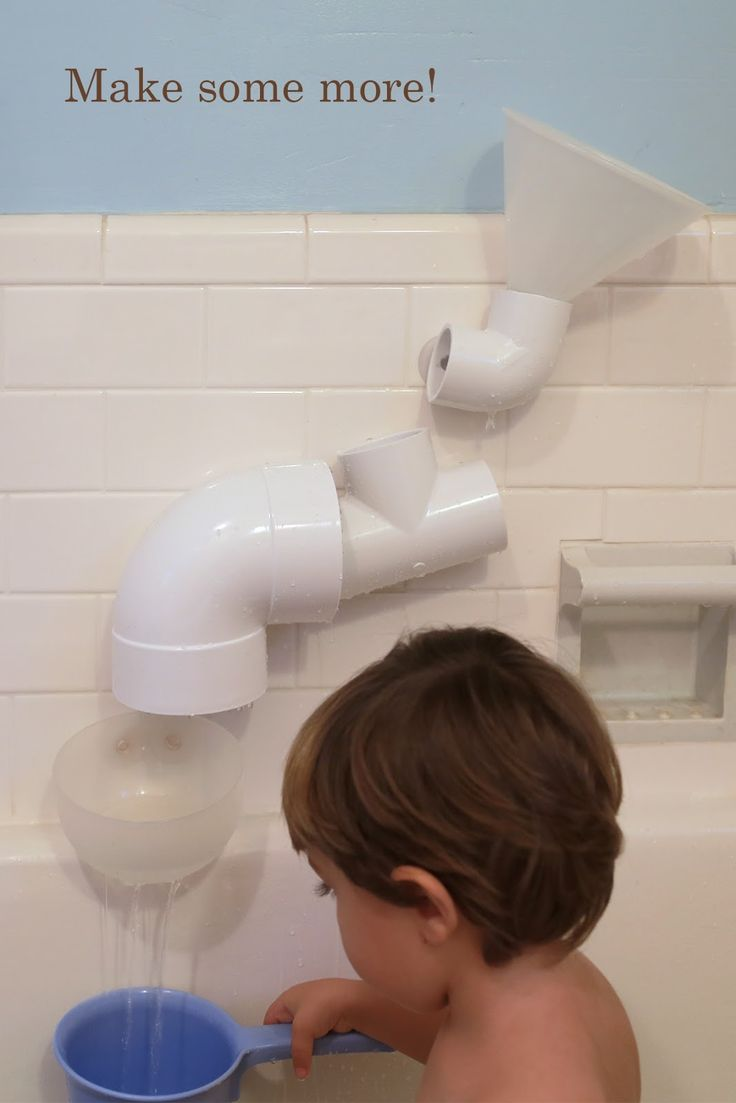 Water wall - Hardware Store Bath Toys. Take various PVC pieces, drill