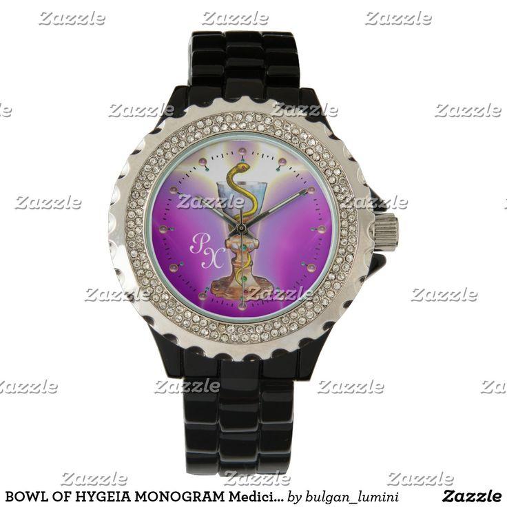 BOWL OF HYGEIA MONOGRAM Medicine, Pharmacy ,Pink Wristwatch #medical  #pharmacist #pharmacology #watches