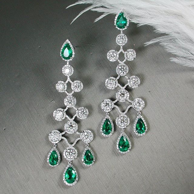 Emerald and Diamond Earrings ~ Prima Gems