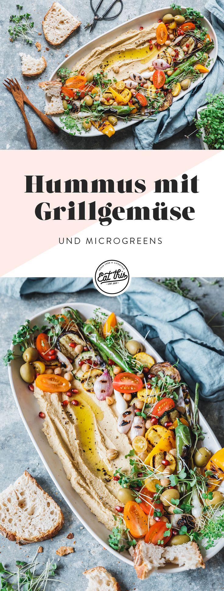 Hummus mit gegrilltem Gemüse & Microgreens