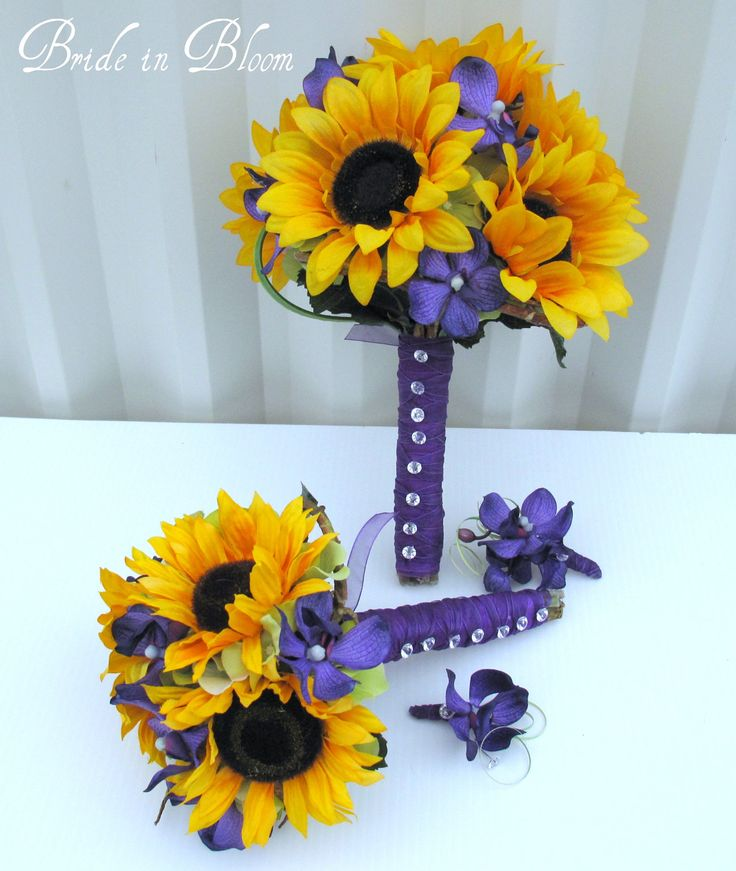4 piece set Sunflower wedding bouquet by BrideinBloomWeddings