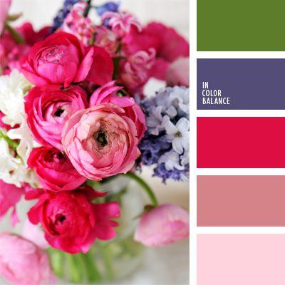 color fucsia, colores para una boda, colores violeta y frambuesa, de color violeta, frambuesa, paleta de colores para una boda, rosado pálido, selección de colores vivos para una boda, tonos rosados, verde, violeta y rosado.