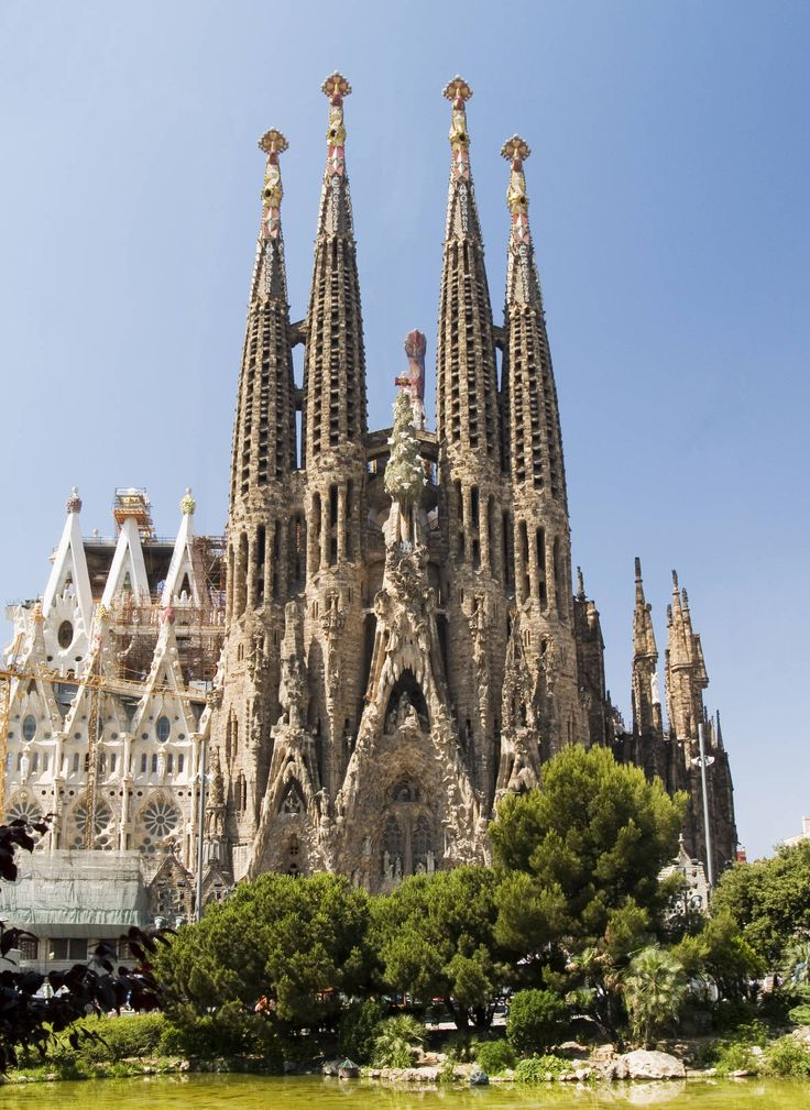 La Sagrada Familia, or Holy Family Church, in Barcelona, Catalonia, Spain;  it was designed by Antoni Gaudi;  work began in 1882, but it is still unfinished