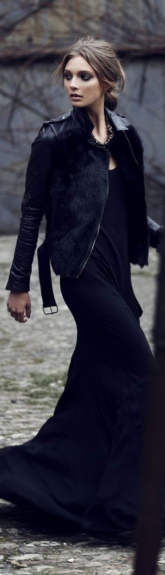 Long black gown with black leather Moto jacket