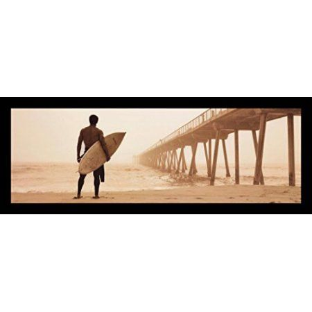 FRAMED Crop In The Mist by Jason Ellis 36x12 Photograph Art Print Poster Surfer on the Beach ready to catch a wave