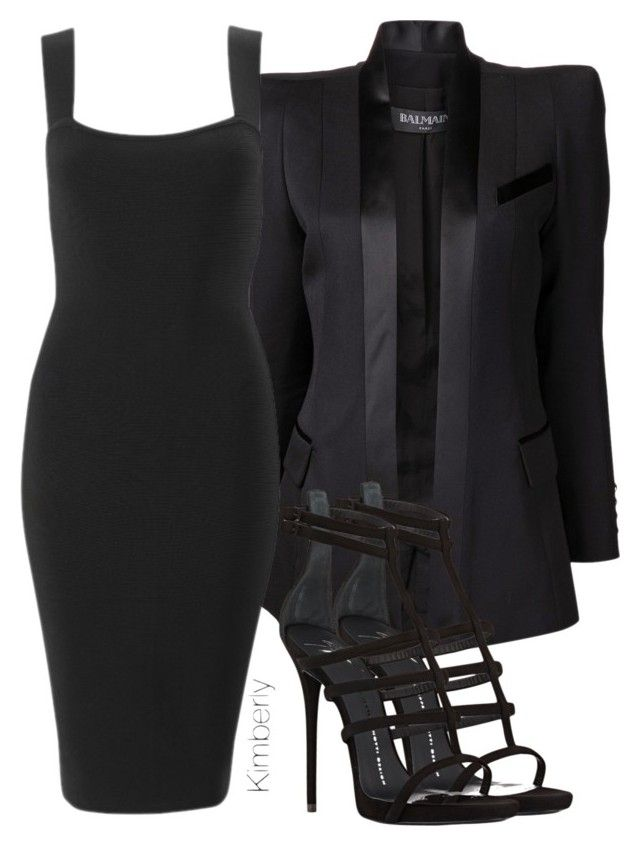 """Untitled #1355"" by whokd ❤ liked on Polyvore featuring Balmain and Giuseppe Zanotti"