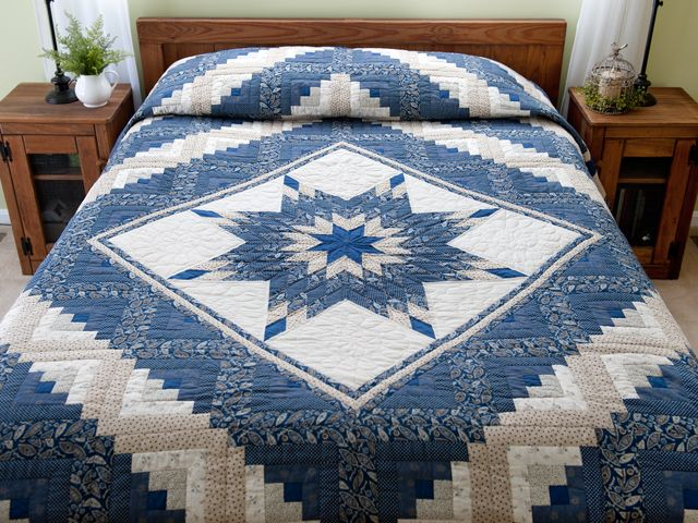 Blue and Tan Log Cabin Lone Star Quilt Photo 1