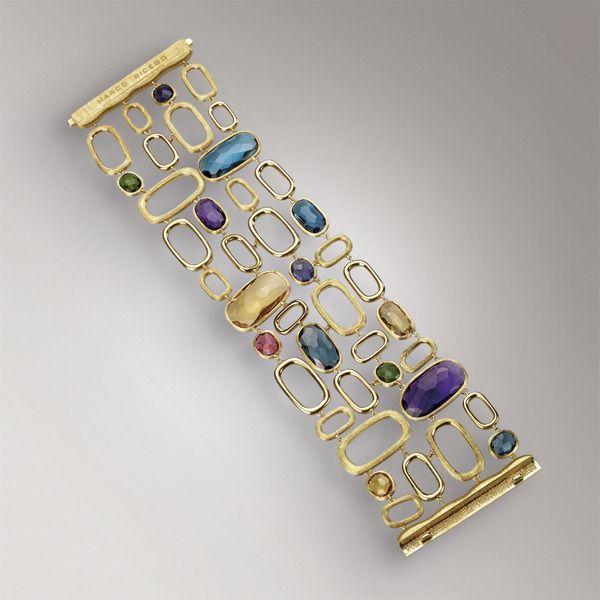 (Yellow Quartz, London Blue Topaz, Iolite, African Amethyst, Rhodelite Garnet, Pink Tourmaline, and Green Tourmaline) Bracelet- Yellow 18k gold - coloured gemstones -  BB1697 MIX300