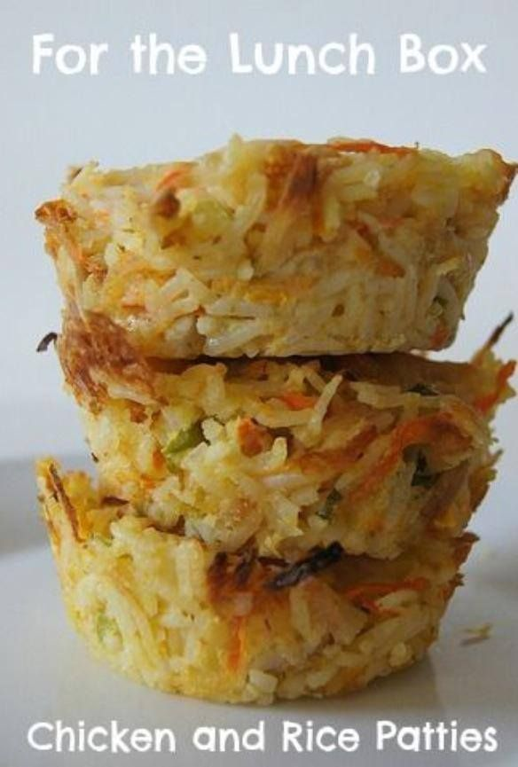 Ingredients 3 cups cooked rice (I used brown) 1 cooked chicken breast (shredded) 1 carrot (grated) 3 spring onions sliced 1 1/3 cup grated cheese 3 eggs Mix all ingredients together, leaving some cheese to sprinkle on top. Spoon into greased muffin tray and bake at 200 degrees for about 15mins.