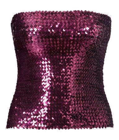 Purple sequined tube top in thick stretch fabric. | Party in H&M