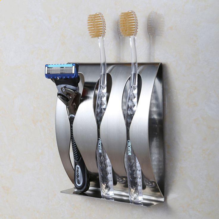 Из нержавеющей стали настенное крепление для зубных щеток 3 статус самостоятельной неприлипающая зубная щетка организатор аксессуары для ванной комнаты купить на AliExpress
