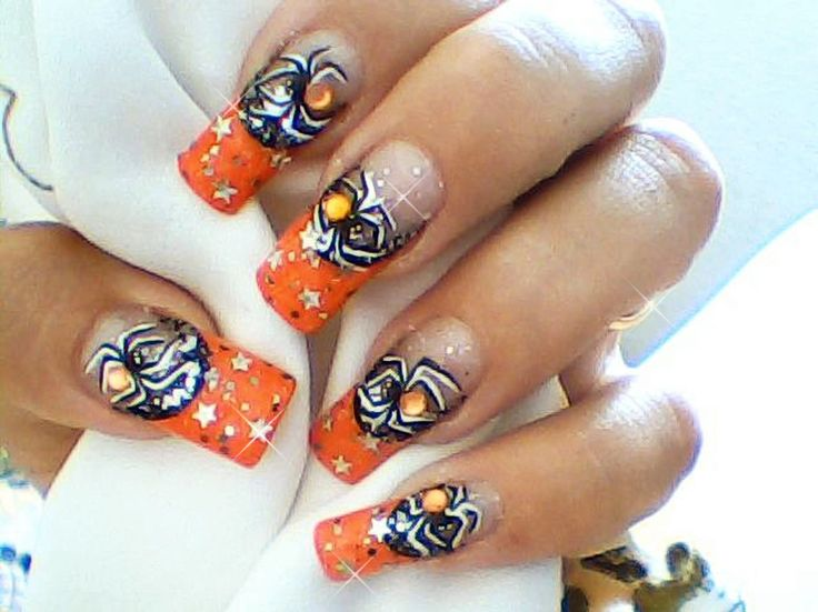 Orange, halloween, spider nail art design | my beauty | Pinterest ...