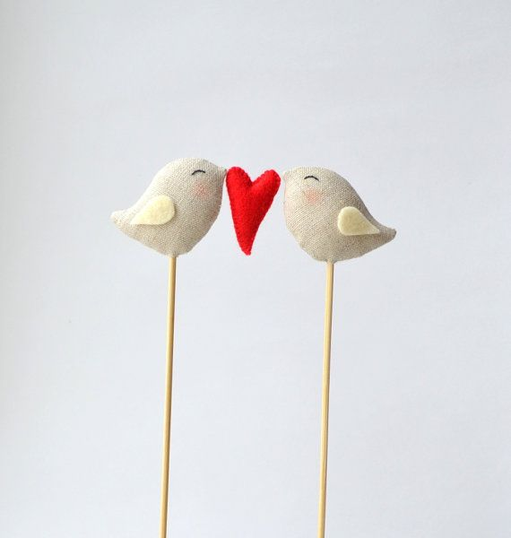 Love Birds Wedding Cake Toppers Linen Birds Cake door DoTheDeco, $24.00