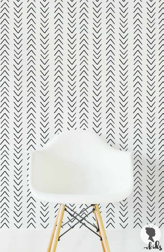 Scandinavian Design Arrow Wallpaper / Traditional or removable