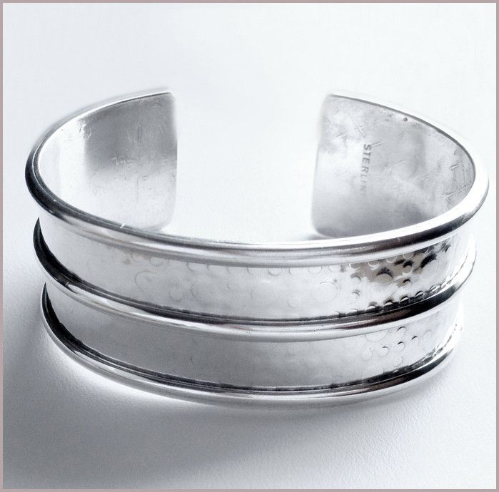 'Endless Sky' cuff bangle: Handmade sterling silver bangle with a textured surface on both sides, reminiscent of the endless skies of Africa. Buy for $324.45 at http://mosadijewelry.com/collections/mosadi-jewelry-bangles/products/endless-sky-bangle