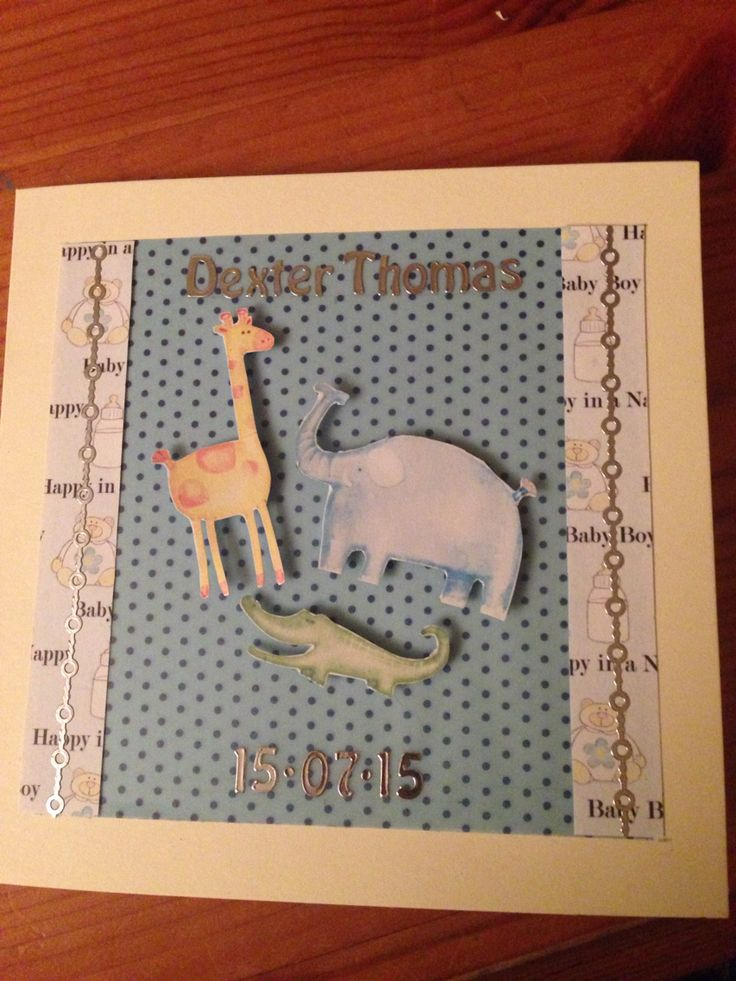 Baby birth card for a baby boy, personalised with name and date of birth