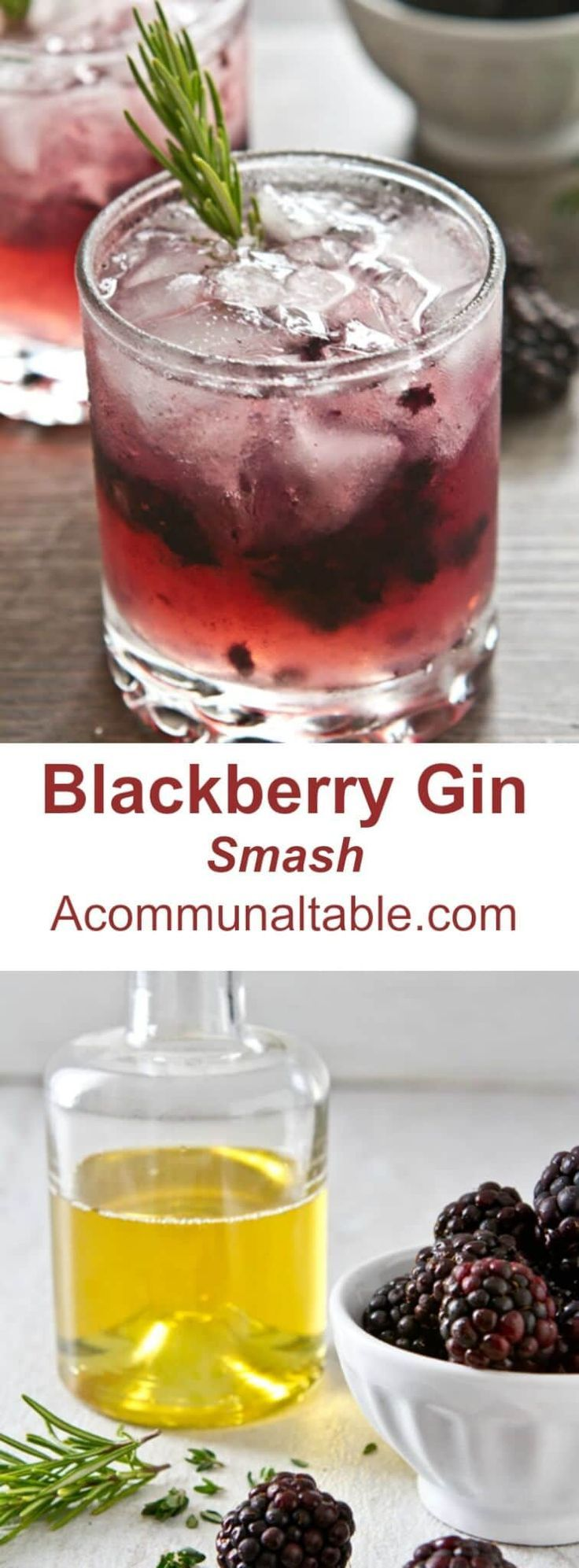 This Summer in Provence Cocktail is a smash! Crushed blackberries. gin, lemon juice and an infused rosemary thyme syrup make for easy summer sipping. #blackberry #blackberries #drinkrecipe #cocktails #cocktailrecipe