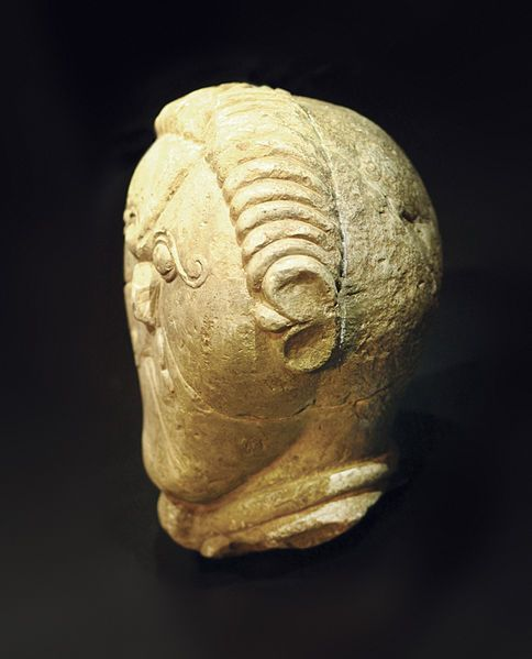 Stone carving of a Celtic hero from ancient Bohemia, believed to depict the form of Celtic tonsure, 3rd century BCE.