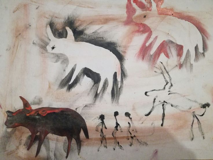 Paleolithic art for kids. Animals made with stencils.