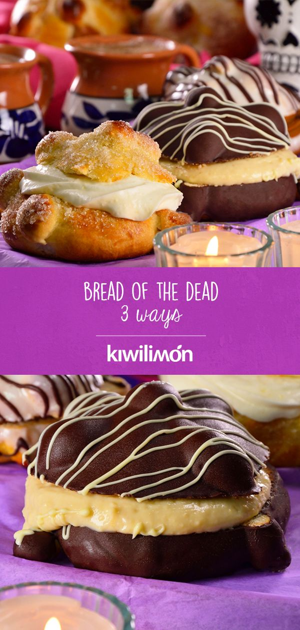 Because we love the bread of the dead, we added more flavor with these exquisite and easy fillings that you´ll love; the whipped cream, which gives a creamy taste to the bread. The option with pastry cream and chocolate covered or the filling of dulce de leche. Mexican Bread, Cheat Meal, Food Humor, Chocolate Covered, Whipped Cream, Holiday Recipes, Cheesecake, Meals, Vegan
