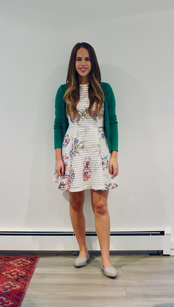 Jules in Flats – Floral Shadow Stripe Dress + Green Cardigan (Business Casual Wo…