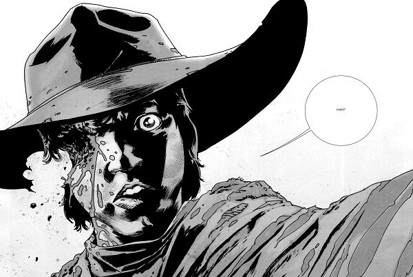 The Walking Dead comic book moment | Carl getting half of his face blown off!
