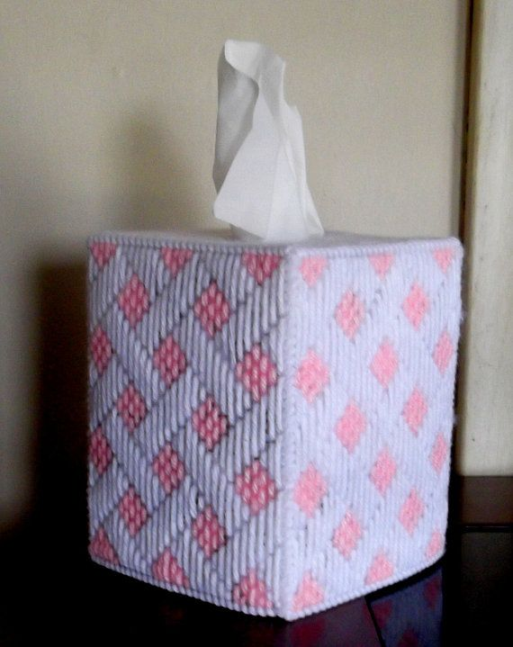 Baby Pink and White  Tissue Box Cover by TissueMart on Etsy, $18.00