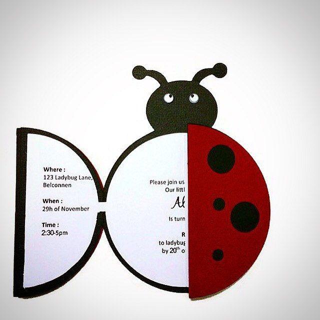 Invitación de la mariquita ladybug partido por LoveInvitesAU
