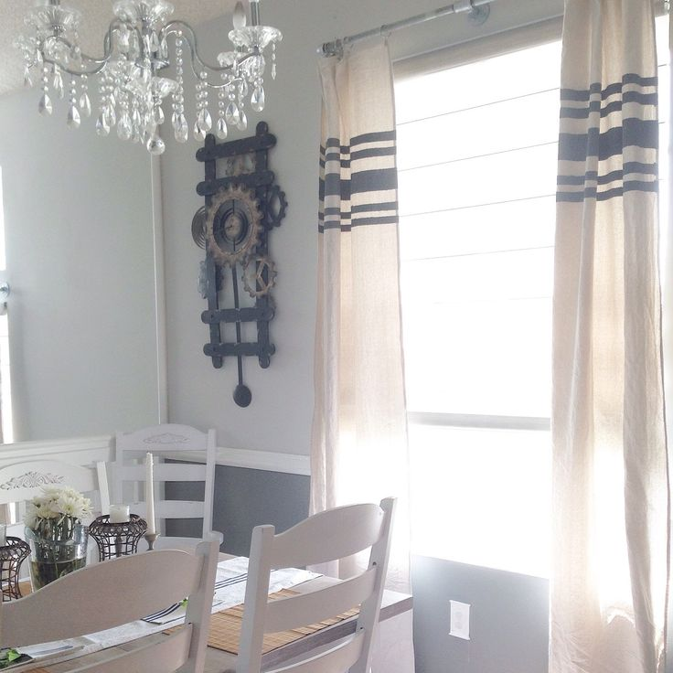 Neutral curtain panels to dress up your windows! Grain sack inspired stripes.