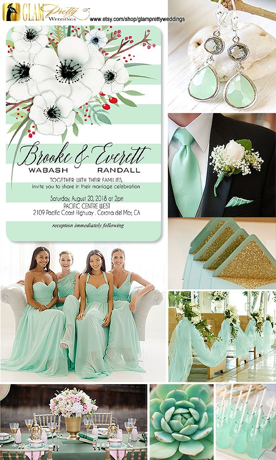 mint green striped with flowers wedding invitation