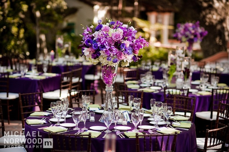 Tall purple centerpieces lovely wedding ideas