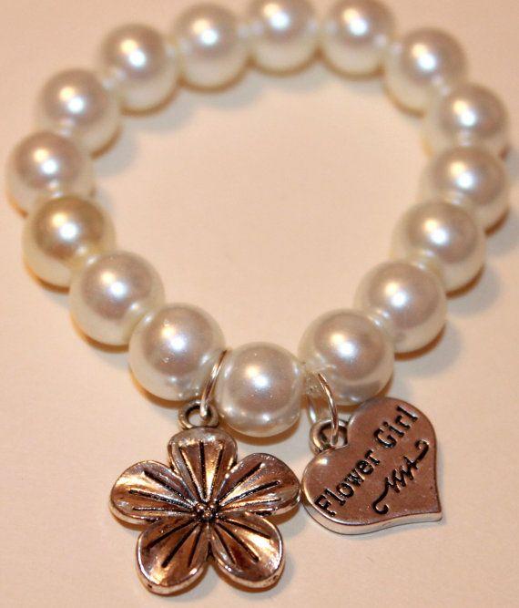Beach Wedding Jewelry- Flower Girl Bracelet with flower charm