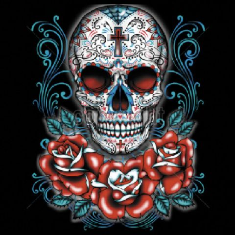 Day of the Dead Sugar Skull with Red Roses QUALITY ADULT SHIRT Image Design on the Front THIS DESIGN LOOKS AWESOME ON A BLACK SHIRT ! Shirt Information: *UNISEX Sizes Available: Medium, Large, 1X-Larg