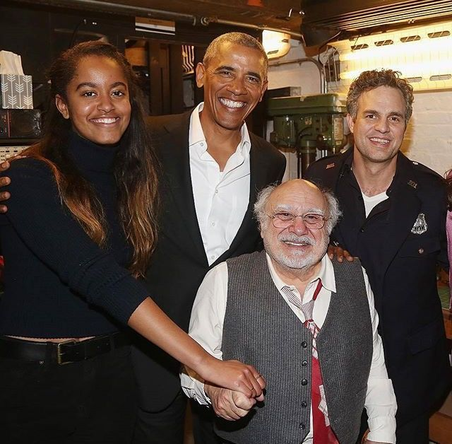 President of the United States Barack Obama &  Daughter Malia pose backstage at The Roundabout Theatre #ThePrice #CastMembers #Broadway w Danny DeVito & Mark Ruffalo