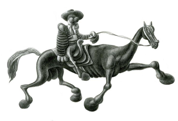 A cavallo! / A caballo! / On horseback!, Grafite su carta / Lápiz Blanco y Negro sobre papel / Graphite pencil on paper, 43.5 x 35.5 cm, 2013.