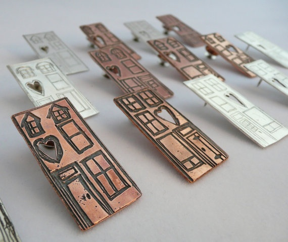 Copper Etched Heritage Row House Pin on Etsy